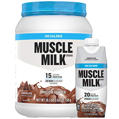 Muscle Milk 100 Calorie Protein Powder and Shake Bundle Pack, Chocolate, 11oz Cartons (12 Pack) & 1.65lb Canister