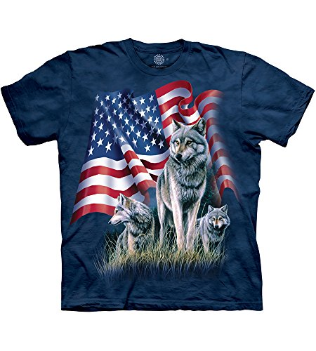The Mountain Wolf Flag Adult T-Shirt, Blue, 2XL