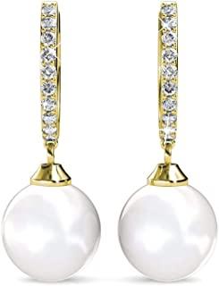 Cate & Chloe Daphne 18K White Gold Dangle Earrings with Crystals and Pearl, Silver Drop Earrings for Women