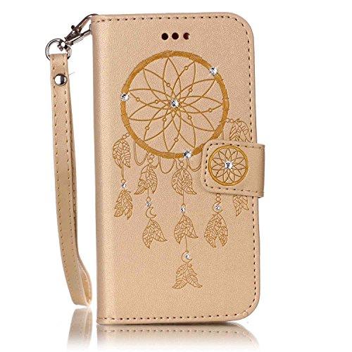 Huawei Y5 II Hülle, Glitzer PU Leder Brieftasche Geldbörse Wallet Case Handyhülle Tasche Schutzhülle Etui mit Handschlaufe für Huawei Y5 II/Huawei Y6 II Compact - Dream Catcher Gold