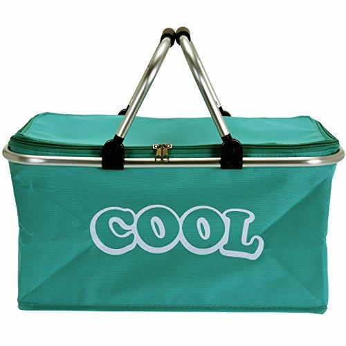 JEMIDI Kühlkorb Einkaufskorb Kühl Isoliert Kühleinkaufskorb Tasche Kühltasche Campingkorb Picknickkorb Trendfarben (Cool Türkis)