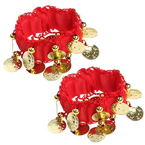 Healifty Bauchtanz Handgelenk Manschetten Chiffon Münze Knöchel Arm Armbänder Armband Tänzer Kostüm Zubehör für Damen Mädchen Frauen (Rot)