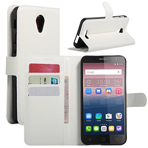 HOMTOM HT7 PRO Case, Fettion Premium PU Leather Wallet Flip Phone Protective Case Cover with Card Slots and Magnetic Closure for HOMTOM HT7 PRO Smartphone (Wallet - White)