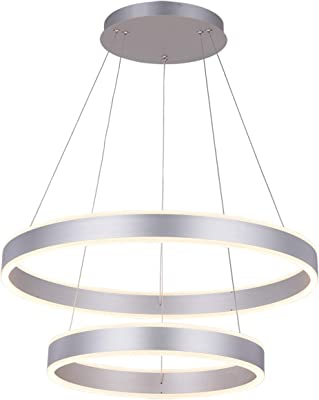 ROYAL PEARL Modern Foyer Pendant Light Dimmable LED Circular Chandelier with 2 Rings Adjustable Hanging Pendant Lighting for Living Dining Room Bedroom Silver Lamp,Silver