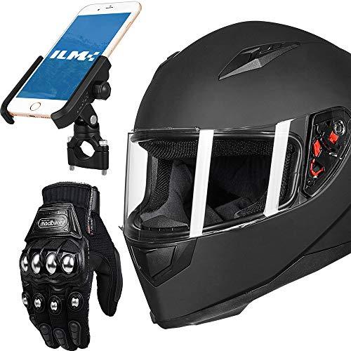 ILM Integralhelm für Motorradhelm, DOT und Handschuhe und Handyhalterung