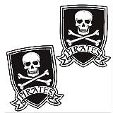 SkinoEu® 2 x PVC Pegatinas Laminadas Adhesivos Bandera Jolly Roger Calavera Pirates Skull Decoración Etiqueta para Motocycletas Autos Coches Ciclomotores Bicicletas Ordenador Portátil Regalo B 243