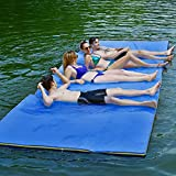 Goplus 12' x 6' Floating Water Pad, 3-Layer Tear-Resistant XPE Foam Mat, with Mooring Device and Hook- Loop Straps Roll-Up Floating Island for 4-6 Person on Pool Lake Ocean