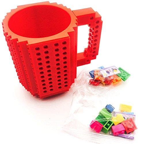 Build-on Brick coffee Mug (Red) - Coffee mug +2 box bricks, BPA-free Coffee Mug Lego Style Puzzle Mugs, Building Blocks Water Bottle Tea Cup, Plastic Mug for Coffee Tea Beverage Drinking