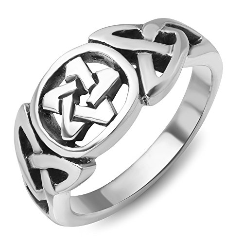 925Sterling Silver Celtic Knot Star Pentacle Pentagram Band Ring Jewelry Size 6