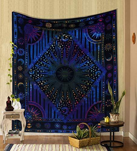 THE ART BOX Tapiz hippie Mandala azul teñido neón sol luna ardiente sol psicodélico Trippy para dormitorio celestial tapiz bohemio para colgar en la pared