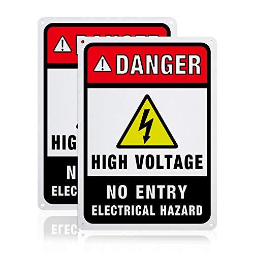 GLOBLELAND 2 Paquete de Señales de Advertencia de Peligro Eléctrico de Alto Voltaje Sin Entrada, Señales de Advertencia de Seguridad de Aluminio de 7x10 Pulgada 40 mil