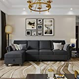 Nolany Convertible Sectional Sofa Couch with Reversible Chaise, L Shaped Sofa Couch with Storage Ottoman for Small Apartment, Dark Grey