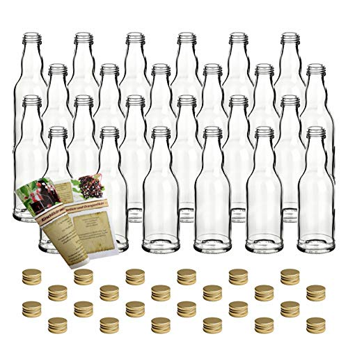 gouveo Juego de 24 botellas de cristal vacías de 200 ml, con tapón de rosca dorado y folleto de recetas de 28 páginas (idioma español no garantizado).