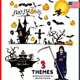 Halloween Window Decorations Stickers (3 Themes). Haunted House, Scary Ghost, Bats, Witch + Pumpkins Decals for Indoor Glass Door + Wall. Home + Office Party Decor Sticker by Decoration Creation