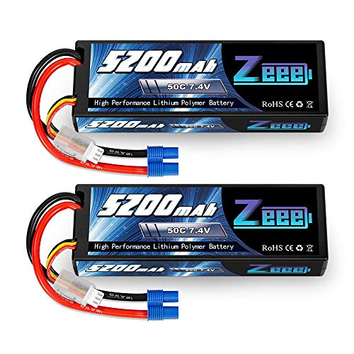 Zeee 7.4V 2S 5200mAh Lipo Battery 50C Hard Case Battery with EC3 Plug for 1/8 1/10 RC Vehicles Car Traxxas Slash X-Maxx RC Buggy Truggy RC Airplane UAV Drone(2 Pack)