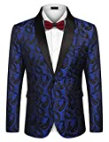 COOFANDY Mens Floral Tuxedo Jacket Paisley Embroidered Suit Blazer Jacket for Dinner,Party,Wedding,Prom (XX-Large, Blue