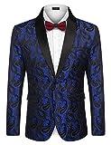 COOFANDY Mens Floral Tuxedo Jacket Paisley Shawl Lapel Suit Blazer Jacket for Dinner,Prom,Wedding Blue