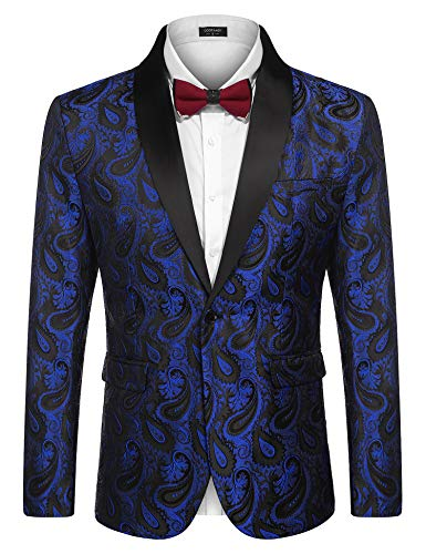 COOFANDY Mens Floral Tuxedo Jacket Paisley Shawl Lapel Suit Blazer Jacket for Dinner,Prom,Wedding Blue
