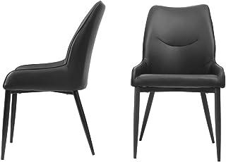2 sillas de comedor, respaldo de piel sintética con patas de metal negro, asiento cómodo y respaldo para cocina, color negro