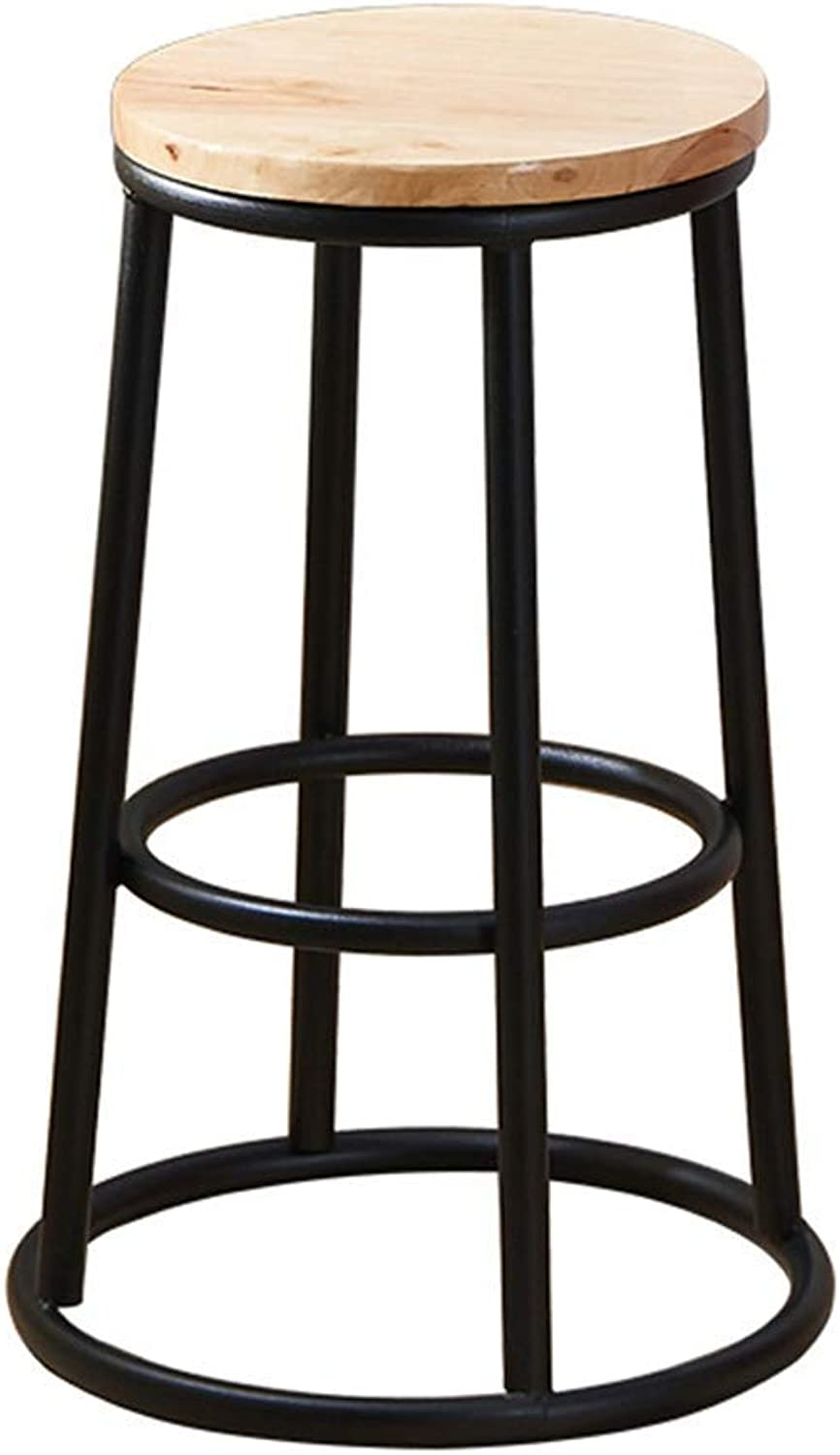 LLYU Bar Stool, Vintage Solid Wood Industrial Wrought Iron Bracket, Kitchen Dining Chair high Stool, Suitable for Restaurant Tavern (color   Wood color, Size   45CM)