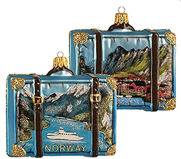 Norway Suitcase Fjords And Fishing Village Polish Glass Christmas Ornament Travel Souvenir Decoration