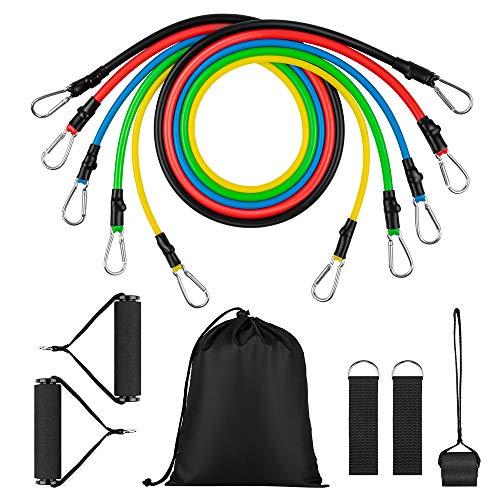 Newdora Widerstandsbänder Fitness Resistance Bands Set - 11PCS Premium Übungsbänder - Stapelbar bis zu 100 lbs. Trainingsbänder mit Türanker, tragbares Heimgymnastikzubehör für Muskelaufbau