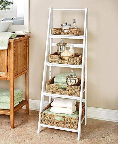 Classic Farmhouse 4-Shelf Ladder - Modern Indoor Decor - White