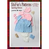patrón para dos agujas –KP29-  chaqueta matinée, pantalones, sombrero y botitas/patucos unisex para bebé