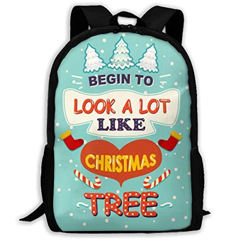 Lawenp Fangen Sie an, viel wie Weihnachtsbaum Sportart Adult Unisex Rucksack Weihnachtsbilder, weiße Weihnachten auszusehen