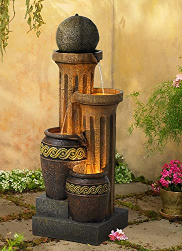 John Timberland Outdoor Floor Water Fountain 50' Sphere Jugs Floor Column with LED Light for Yard Garden Lawn
