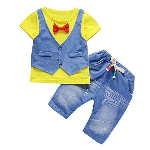 Vovotrade® 2PC Toddler Kids Baby Boys Outfits Manches Courtes T-Shirt + Pantalon Gentleman Vêtements Set Short Sleeve Clothes (Yellow, 24M)