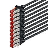 0,5m - Negro - 10 Piezas - CAT6 Ethernet LAN Cable de Red Set 1000 Mbit/s Patchkabel CAT6 S-FTP Doble blindado PIMF 250MHz halógenos Compatible con CAT5 CAT6a CAT7 CAT8, Patch Panels