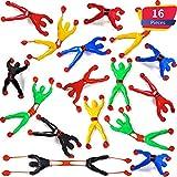 Blulu 16 Pièces Fenêtre Crawler Hommes, Multicolores Collants Muraux Climbers Roulement Hommes Jouets Nouveautés Extensibles Collants pour Faveur de Fête (16 Pièces)
