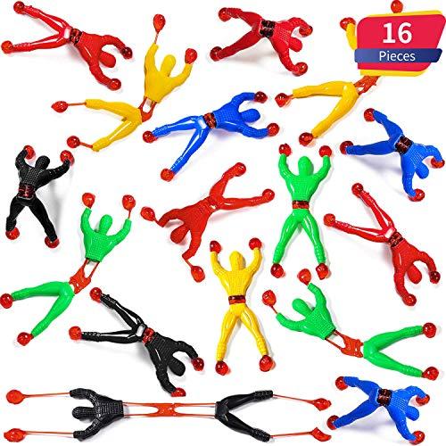 Blulu Fenster Crawler Männer, Mehrfarbig Klebrige Wand Kletterer Rolling Männer Neuheit Dehnbar Klebrige Spielzeug für Party Favor (16 Stücke)