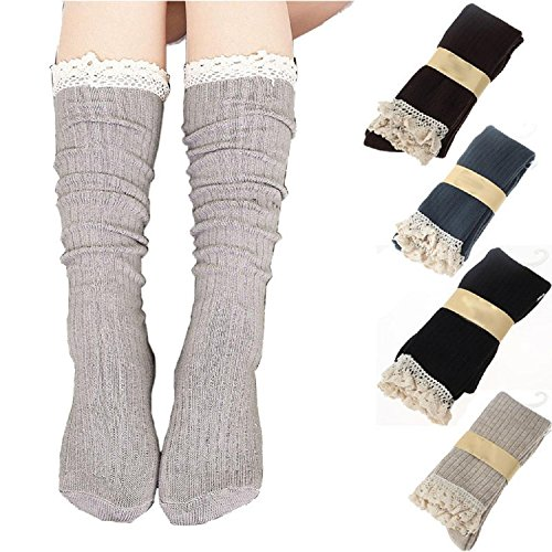 4 Pack Women Cotton Knit Boot Socks Knee High Socks Stockings with Lace...