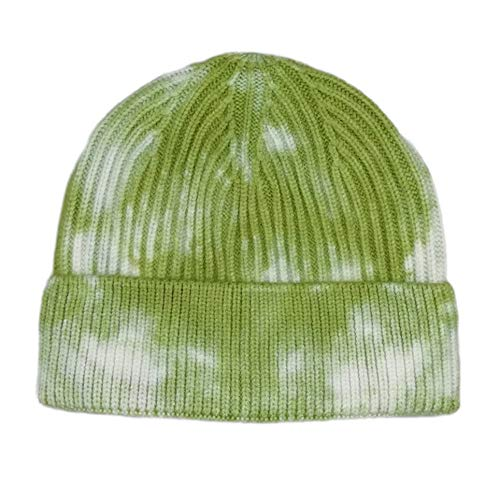 Tie-Dye Knitting Hat Moda Joker Hat Hip-Hop Dome India Cap Render Cap, Verde