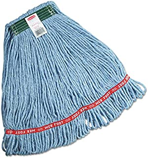 """Rubbermaid Commercial Products FGC11206BL00 Swinger Loop Wet Mop, Medium, 1"""" Green Headband, Blue (Pack of 6)"""