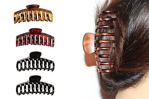 Gran horquilla de 4 piezas con garra de leopardo Horquillas antideslizantes para cabello grueso (dos negras, una roja y una amarilla) cuatro juntas