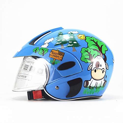 CARACHOME Casco niño,Casco Moto niño Cara Abierta/Cara Llena, Adecuado para Motocicleta Bicicleta Scooter patineta esquí,Blue