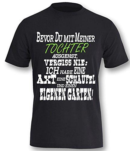 Bevor Du mit meiner Tochter ausgehst Herren T-Shirt Schwarz-Weiss/Neongrün Grösse XXL