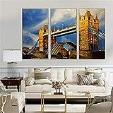 Not applicable Quadro Moderno 3 Pezzi London City Canvas Canvas Tower Bridge Immagini per pareti per Soggiorno Wall Art Decoration 3 Pezzi