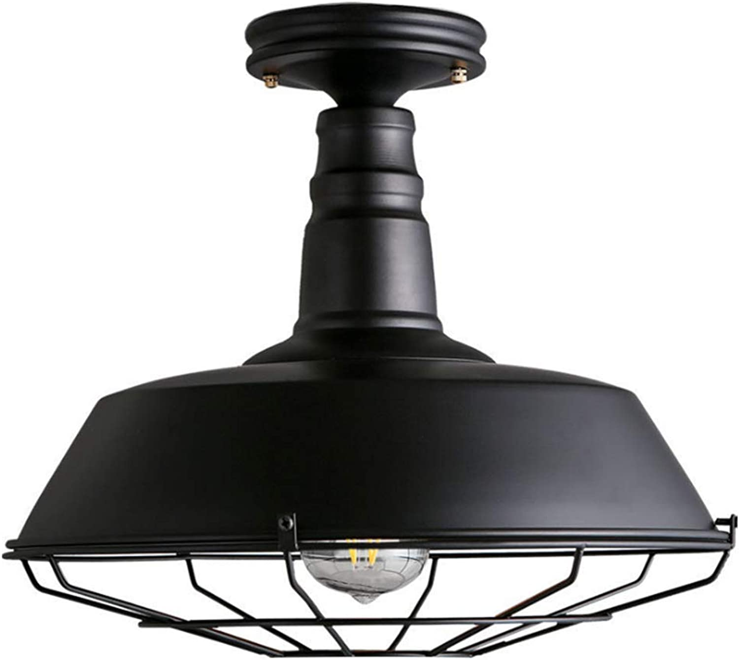 Ladiqi Industrial Rustic Semi Flush Mount Ceiling Light Barn Metal Cage Mounted Pendant Lighting Black Farmhouse Dome Kitchen Lamp Fixture for Foyer Garage Entryway Porch