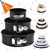 AOBETAK set di 3 teglie rotonde antiaderenti e a prova di perdite, 4' 7' 9' teglia da forno con base rimovibile, ideale per cheesecakes e spugne; colore nero, 10cm, 18 cm, 23 cm