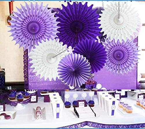 Purple Elephant Baby Shower Decorations Lavender Purple White 7pcs Honeycomb Tissue Paper Fan Flower for Purple Baby Shower Decorations Bridal Shower Decorations Purple Birthday Party Decorations