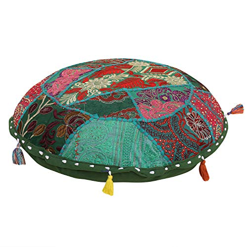 Home décoratif fait à la main Coton Ottoman Patchwork Pied Stool- Sol Coque, couvre-lit décoratif vintage Pouf Housse en coton indien Ottoman Pouf, salon, 16