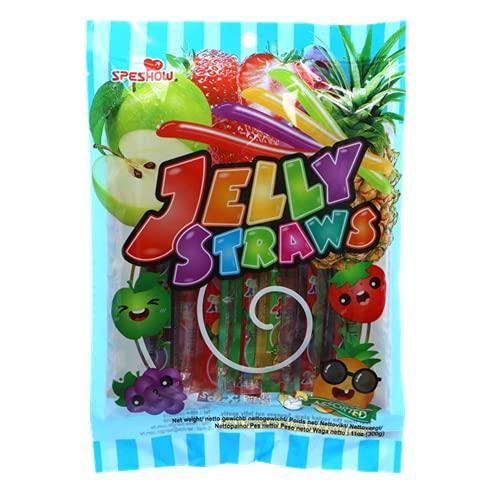 Caramelle a forma di cannuccia in gusti assortiti alla frutta, confezionati in un pacchetto