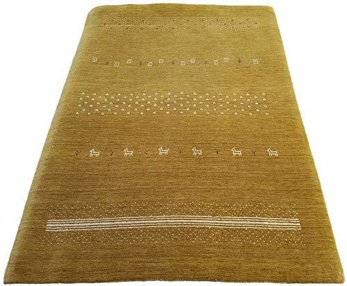 Moderner Gabbeh Teppich | Nachhaltig handgefertigt aus 100% Schurwolle mit Wollsiegel und Rugmark | 160 x 230 cm; Farbe: Gold | THEKO die markenteppiche - Lori Dream Super