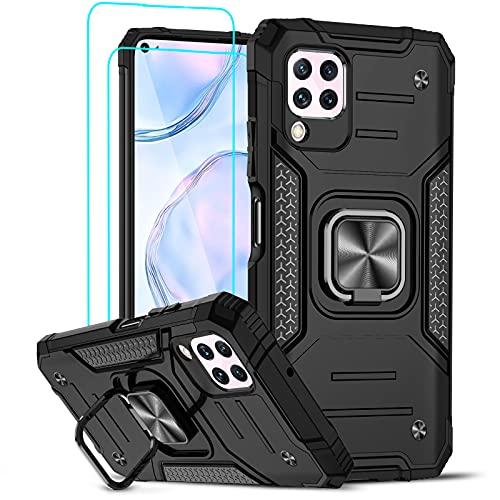 LeYi Funda para Huawei P40 Lite 4G Armor Carcasa con [2 Unidades] Cristal Templado, Cover con 360 Grados Magnetic Anillo Soporte Hard PC y Silicona TPU Bumper antigolpes Case Huawei P40 Lite, Negro