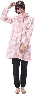 NISHIKI[ニシキ] パジャマ レディース ルームウェア 長袖 もこもこ 前開き ロング丈 上下セット 裏起毛パンツ 冬 マイクロファイバー 保温 あったかい 部屋着 かわいい ふわもこ
