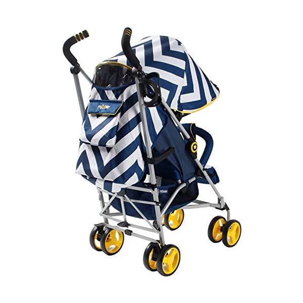 My Babiie MB02 Blue Chevron Stroller My Babiie Suitable from birth to maximum 15kg Extendable 3 position canopy Lockable swivel front wheels 3